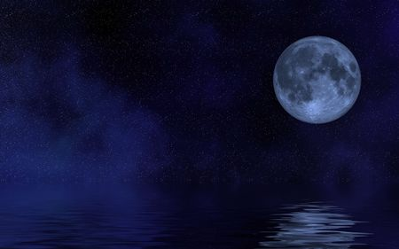 moon and his reflection in water Stock Photo - 4867498