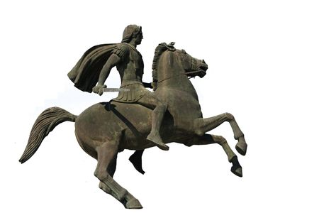 era: Statue of Alexander the Great at Thessaloniki city in Greece isolated on white
