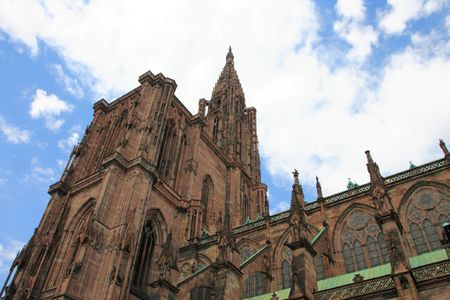 nato summit: View of Strasbourg Cathedral from below - Visited by :ichelle Obama on 4th of April 2009 during the NATO summit Stock Photo