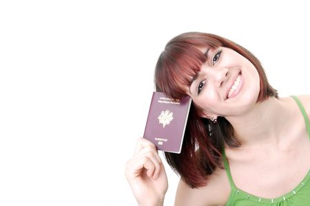 Excited traveler with her passports photo