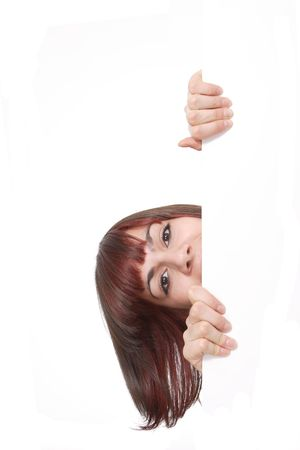 Standing over or ontop of sign - Female holding sign or board Stock Photo - 4875359