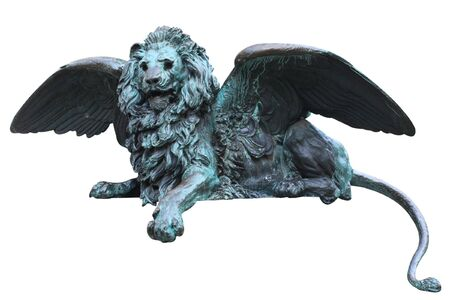 oxidated: Close-up of bronze lion statue turning green from oxidation in Venice, Italy. Stock Photo