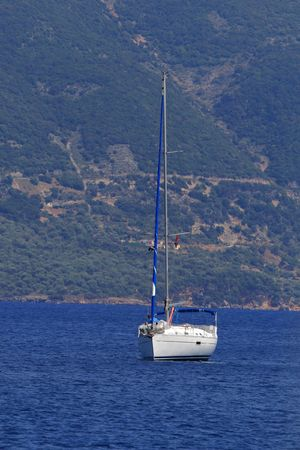 ionian: Sailing yacht in the Ionian Greece Stock Photo