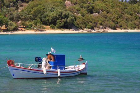 Fishing boat on the Ionian island of Lefkas Greece photo