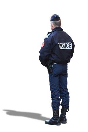 Ganzk�rper-Ansicht eines franz�sischen Polizeibeamten. Isolated on white. Lizenzfreie Bilder