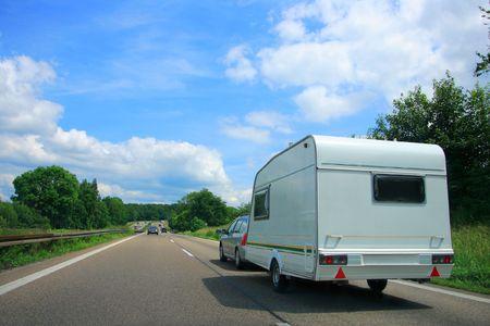 overtake: Caravan Country Highway in France