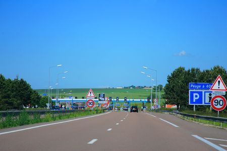 Highway road to toll in France