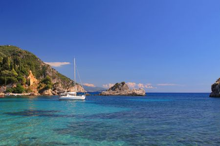 ionian: Sailing yacht in the Ionian sea Greece