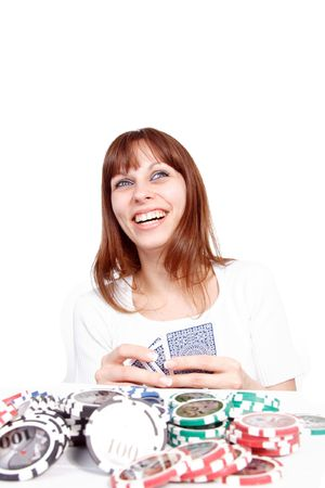 Beautiful Young Woman playing poker