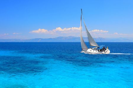 Sailing yacht in the Ionian sea Greece