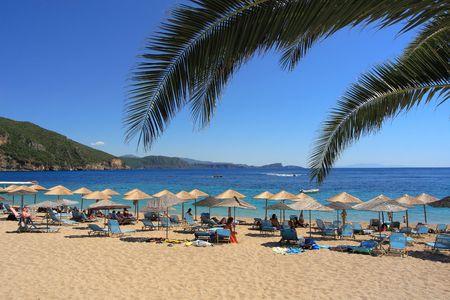 Lichnos Strand in Parga Griechenland Lizenzfreie Bilder