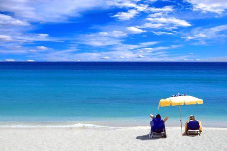 Am Strand genie�en Ionischen Meer in Griechenland kombinieren