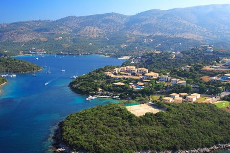 Aerial view on the village of Sivota Greece  - Shot from Helicopter