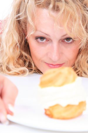 gluttonous: Hungry gluttonous woman eating cake