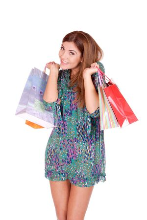 isolated portrait of a beautiful caucasian woman with some shopping bags Stock Photo - 5856232