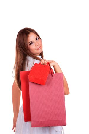 isolated portrait of a beautiful caucasian woman with some shopping bags Stock Photo - 6090698
