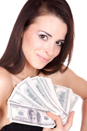 Attractive woman takes lot of 100 dollar bills isolated on white background   photo