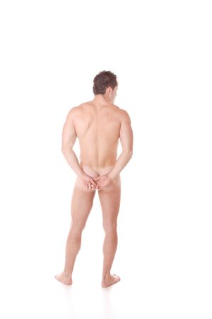 stripper: A Muscular nude male On white background