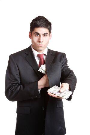 A Businessman Holding Money on white background   photo