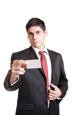 Businessman presenting card isolated on white   photo