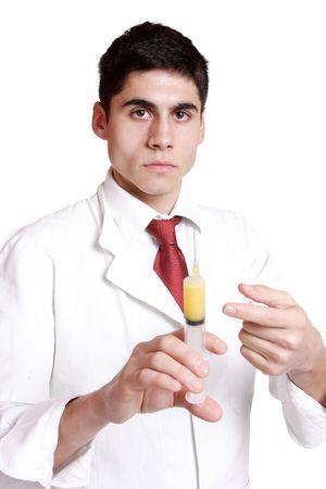 doctor holding syringe on white background     photo