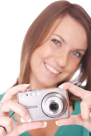 portrait of a beautiful young brunette woman talking a picture Stock Photo - 6150449