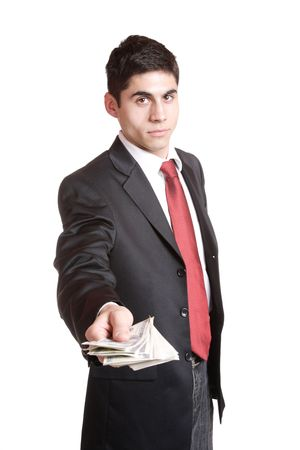 counting money: A Businessman Holding Money on white background   Stock Photo