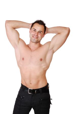 sexy muscular man: A Sexy muscular man isolated on white Stock Photo