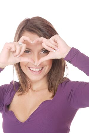 I love you: woman with heart over white background   photo