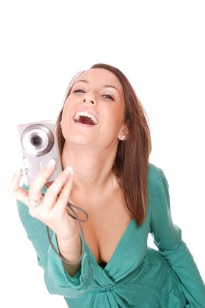 portrait of a beautiful young brunette woman talking a picture photo