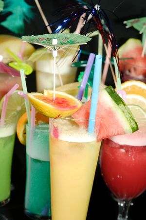 group of Various fresh cocktails on black background Stock Photo - 6153686