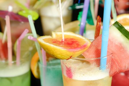 group of Various fresh cocktails on black background Stock Photo - 6153700