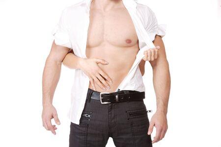 Frau H�nde auf ein sexy Mann torso