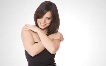 Front view of beauty and sexy woman with dark hairs  Stock Photo - 6180269