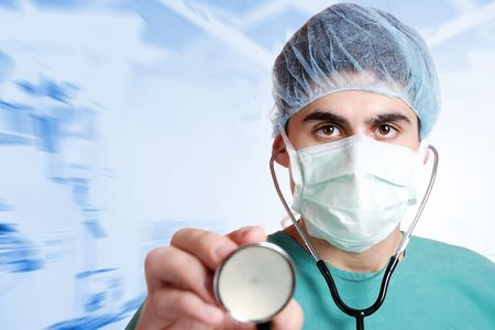 emergency room: medical doctor with stethoscope in emergency room   Stock Photo