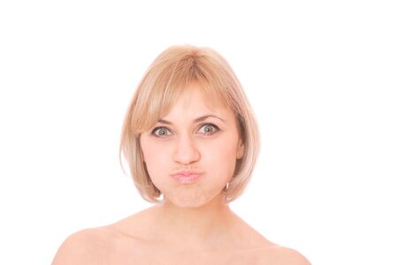 raged: Portrait of a beautiful blond woman making faces