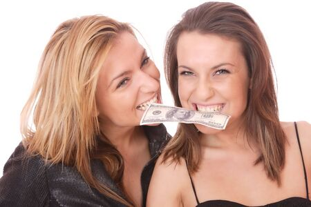 Two casual happy woman with 100 USD bill photo