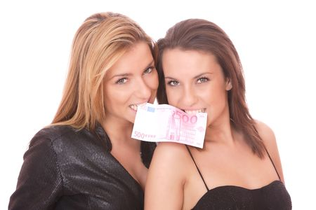 Two casual happy woman with 500 EURO bill photo