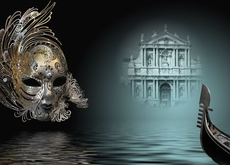 Beautiful carnival mask composition from venice Italy 스톡 콘텐츠