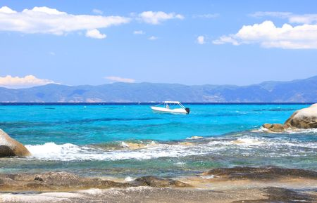 lido: summer on the beach in Greece - Portokali Halkidiki   Stock Photo