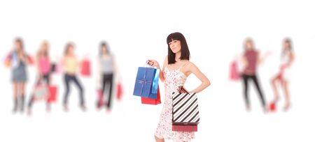 Group of shopping girls over white background  photo