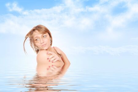 Beautiful young woman reflected in rendered water
