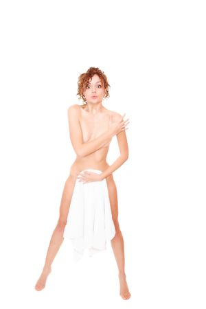 strandlaken: prachtige jonge vrouw in hand doek - gezondheid en schoonheid