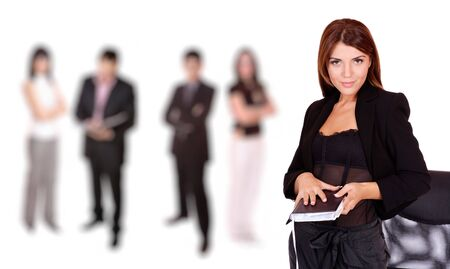 co operation: A business woman leading a team in the office