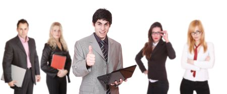 sucessful: An attractive sucessful business team over white background