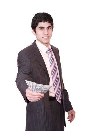 business man with money isolated on white background   photo