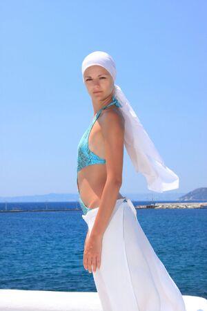 Beautiful woman enjoying the beach in Greece Stock Photo - 6799889