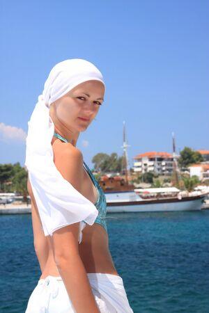 Beautiful woman enjoying the beach in Greece Stock Photo - 6799777