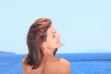 Beautiful woman enjoying the beach in Greece Stock Photo - 6799909