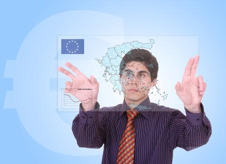 economist: Greek businessman studying economical previsions Stock Photo